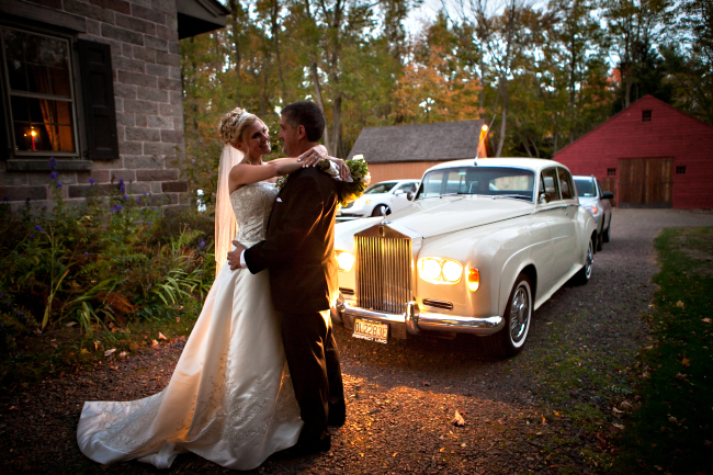 Bride Groom Rolls Royce Autumn Wedding at the Rockleigh Country Club